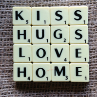 Word Art Coaster- KISS, HUGS,LOVE, HOME