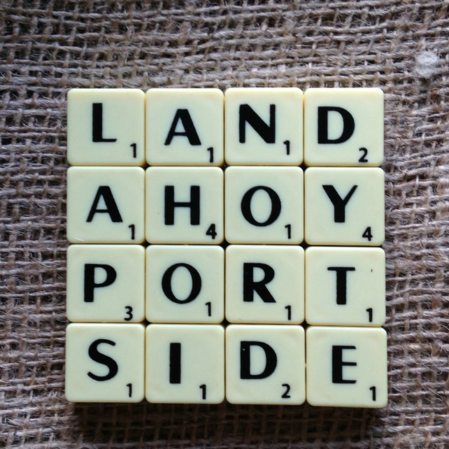 Word Art Coaster- LAND, AHOY, PORT, SIDE