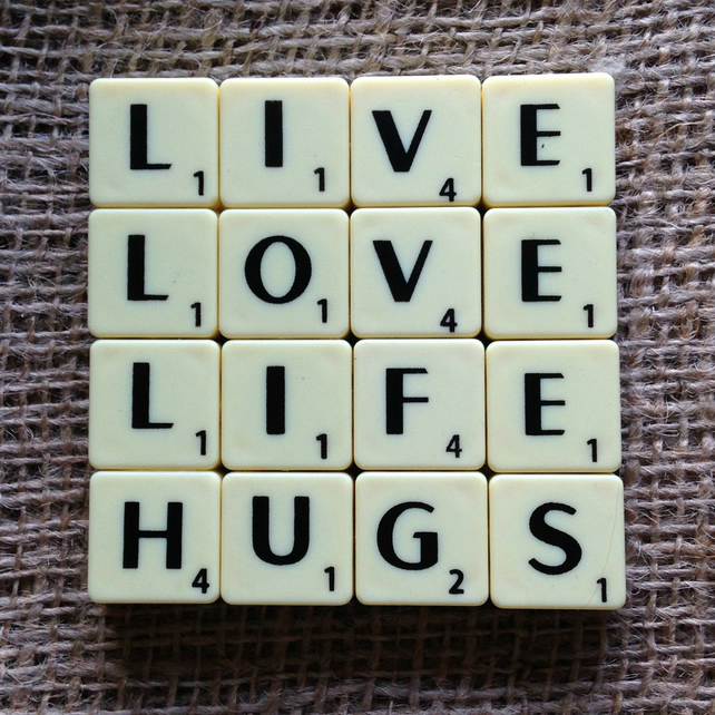 Word Art Coaster- LIVE, LOVE, LIFE, HUGS