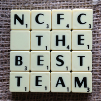 Word Art Coaster- NCFC, THE, BEST, TEAM
