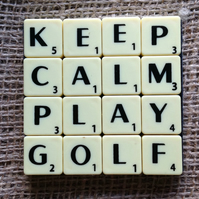 Word Art Coaster- KEEP, CALM, PLAY, GOLF