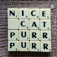 Word Art Coaster- NICE, CAT, PURR, PURR