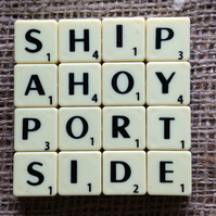 Word Art Coaster- SHIP, AHOY, PORT, SIDE