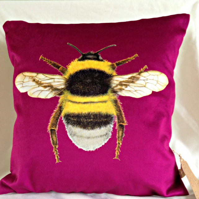 Stunning Velvet Bee Cushion in Berry Purple