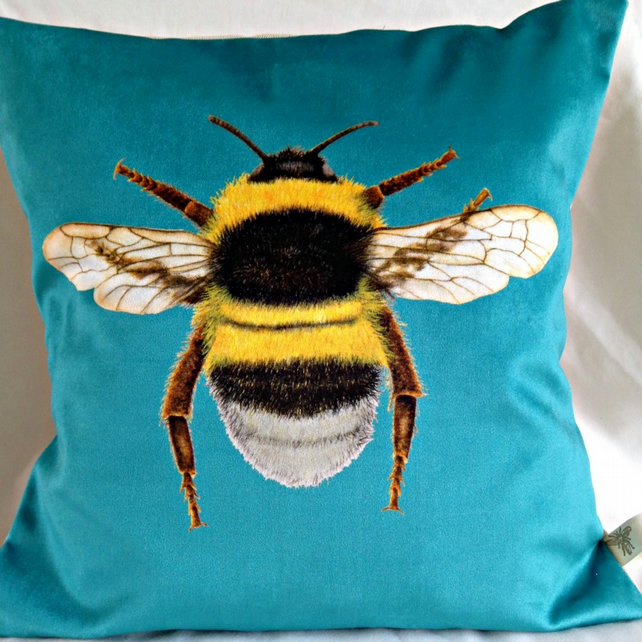 Stunning Velvet Bee Cushion  in Turquoise Blue
