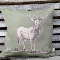 Sage Stag Cushion with Tartan reverse