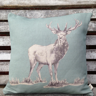 Duck Egg Blue Stag Cushion with Tartan reverse