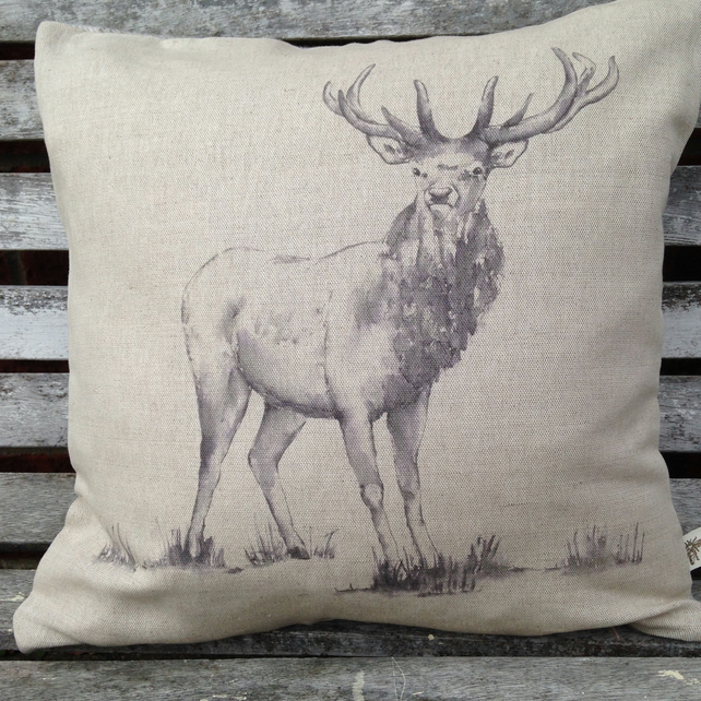 Natural Linen Stag Cushion with Tartan reverse