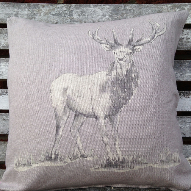 Heather Stag Cushion with Tartan reverse