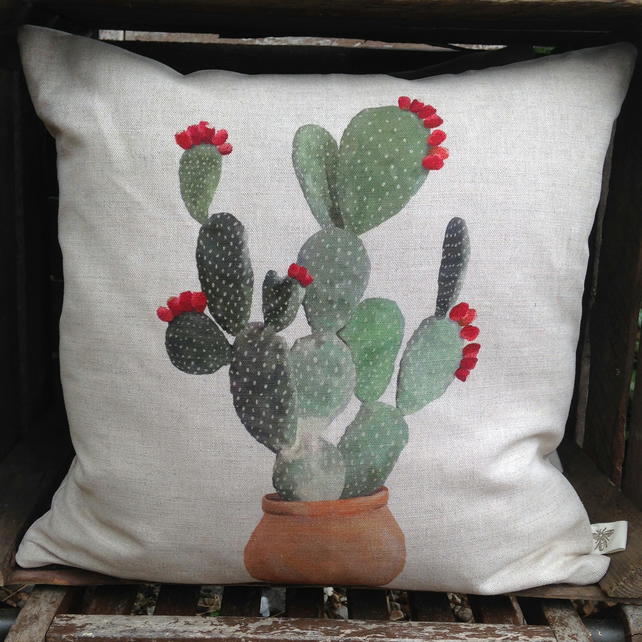 Cactus Nopal Cushion with feather insert
