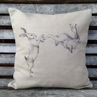 Natural Linen Boxing Hares Cushion with Tartan reverse
