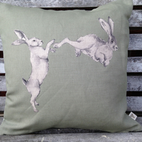 Sage Linen Boxing Hares Cushion with Tartan reverse
