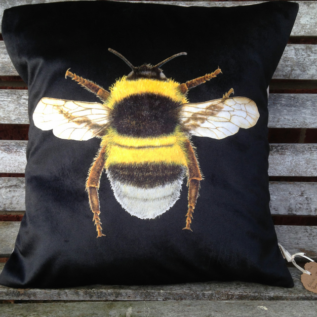 Stunning Velvet Bee Cushion  in Black