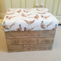 Wooden  new Vintage style upholstered apple crate storage seat- Pheasants