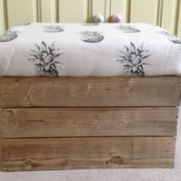 Wooden  Handmade Vintage style apple crate bushel storage seat- Pineapples