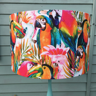 Tropical Parrot  Drum Lampshade- Large 40cm
