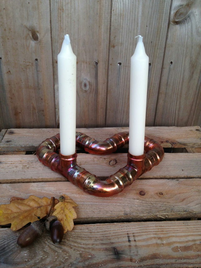 Heart Copper Candlestick