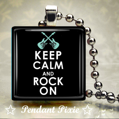 Keep Calm and Rock On Wooden Scrabble Tile Pendant