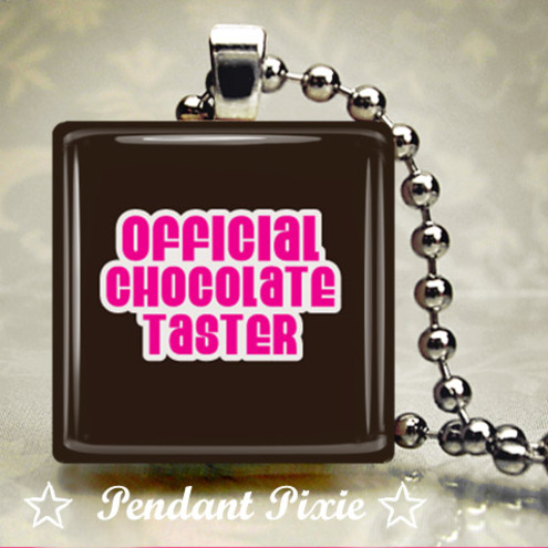 Official Chocolate Taster Scrabble Tile Pendant