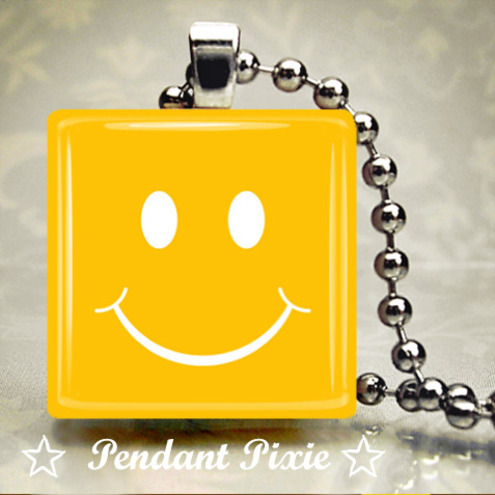 Bright Yellow Smiley Face Scrabble Tile Pendant