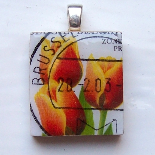 Postage stamp Scrabble tile pendant - tulips