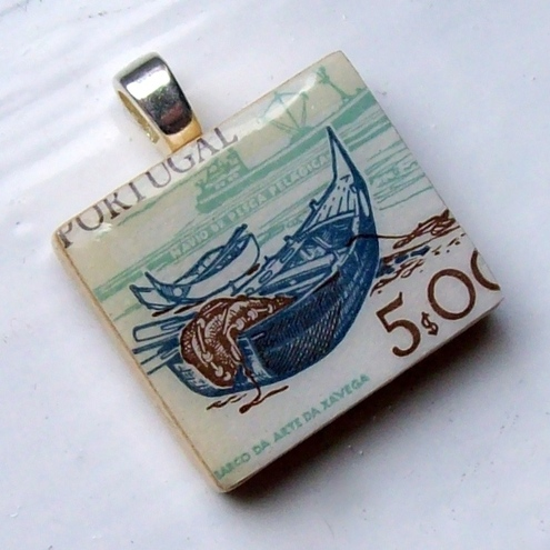 Postage stamp Scrabble tile pendant - fishing boat