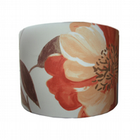 Drum Lampshade Floral Lamp Shade with giant orange flower Spring Summer Decor