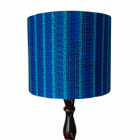 Blue Striped Lampshade, Fathers Day Gift, Aquamarine Blue Home Decor
