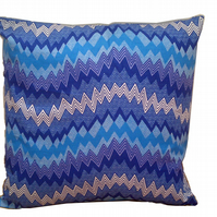 GeometriCushion, Shades of Blue White with Shockwaves, 18x18 Cushion cover