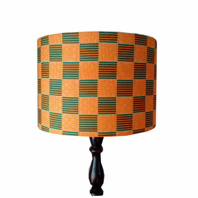 Orange Geometric Squares Lampshade, 30cm drum lamp shade, African Kente Fabric