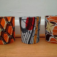 Tea light Holders Set of 3 African print Boho Camping Votive Candle Holder