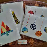 African handmade Christmas Cards, set of 3 blank Afrocentric cards