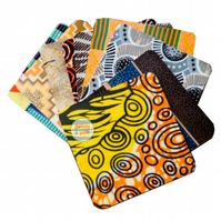 African inspired mug coasters. mixed set of 10