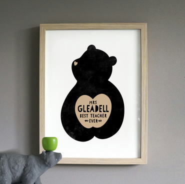 Personalised Best Teacher Ever A4 Bear print