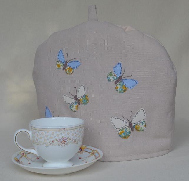 Tea Cosy with Butterfly Freehand Machine Embroidery Design