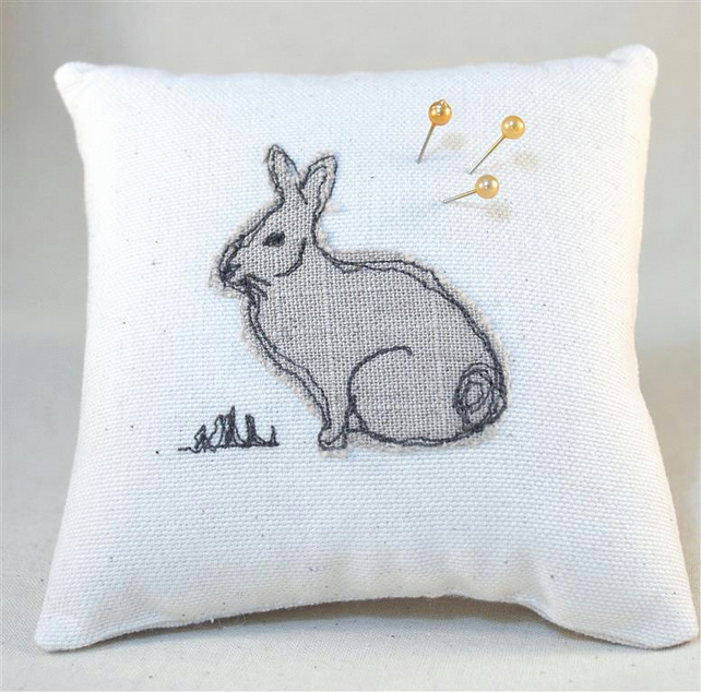 Pin Cushion Rabbit Handmade Wildlife Nature Freehand Machine Embroidery