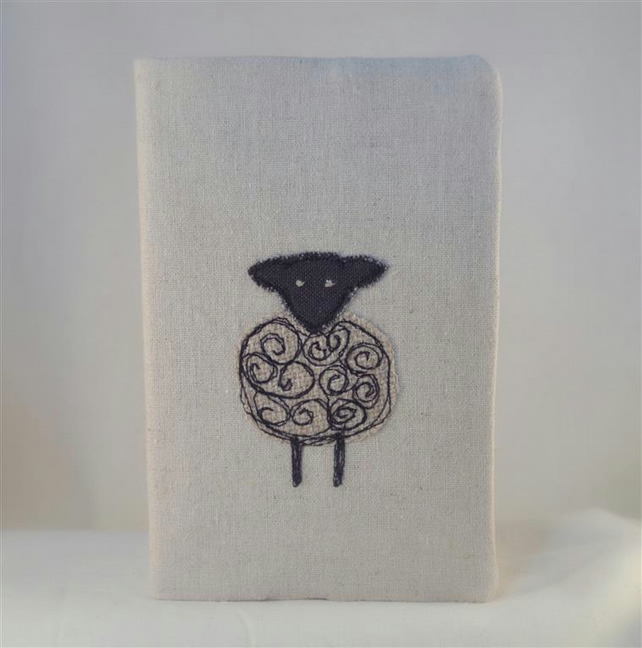 SALE ITEM  Notebook Journal A6 Handmade Fabric Cover Sheep