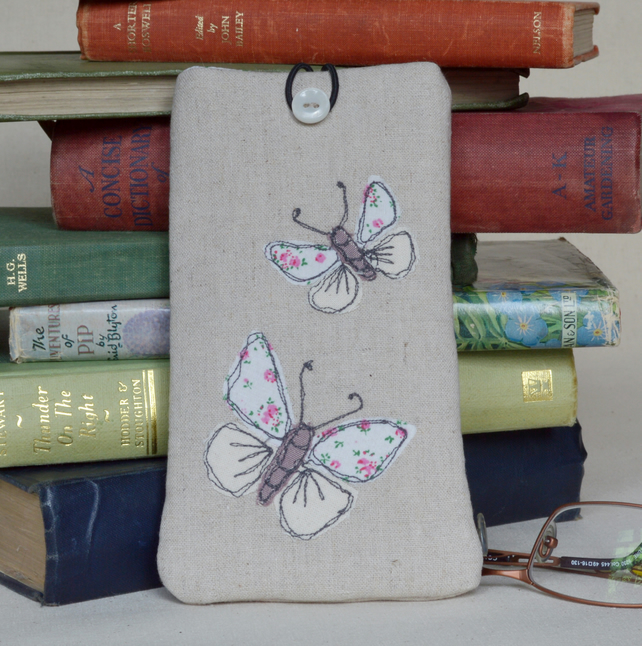 Glasses Case in Linen with  Butterfly Design Freehand Machine Embroidery