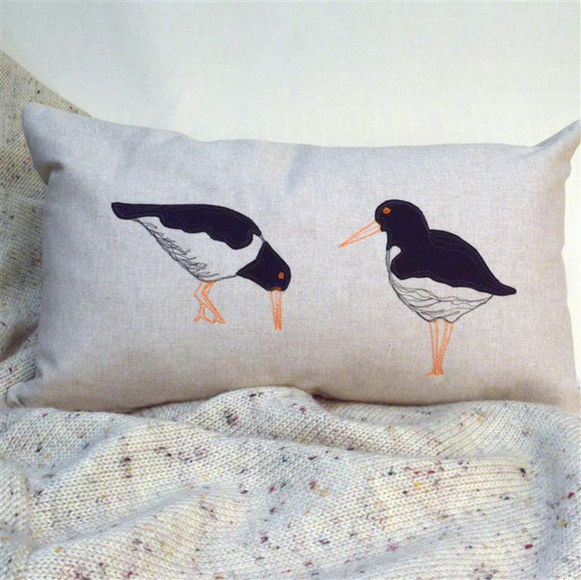 Cushion Oyster Catcher Nature Wildlife Coastal Bird Freehand Machine Embroidered