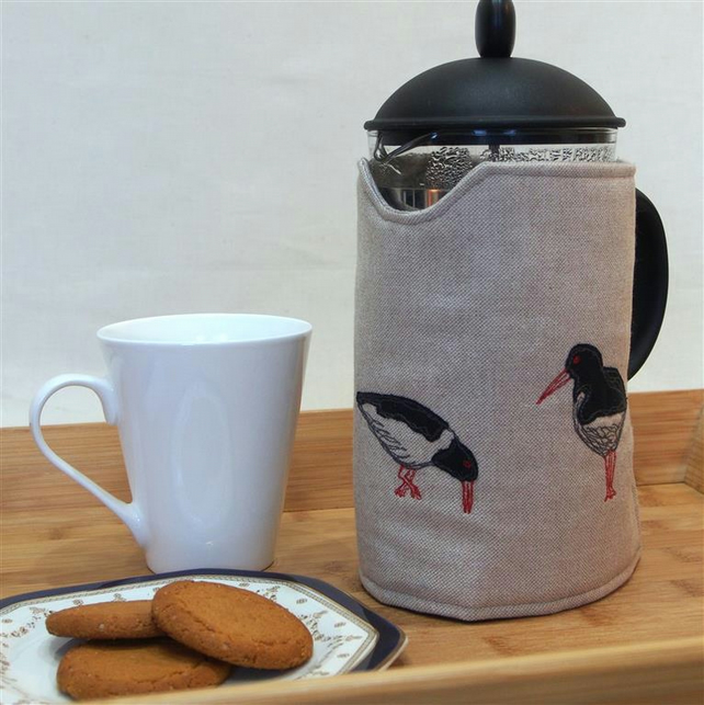 Cafetiere Cosy Oyster Catcher Bird Freehand Machine Embroidery Design