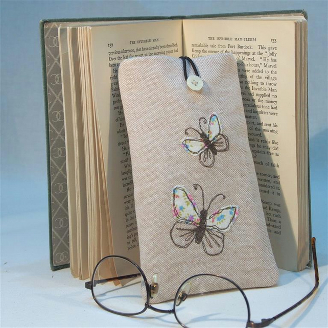 Glasses Case Freehand Machine Embroidered Butterfly Design MOTHERS DAY GIFT