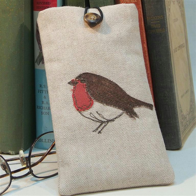 Glasses Case Robin Design Freehand Machine Embroidered  in Linen Look Cotton