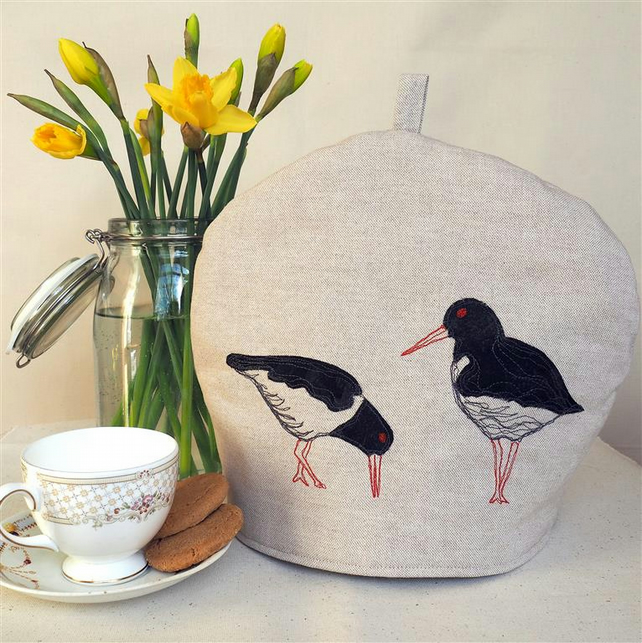 Tea Cosy Oyster Catcher Coastal Seaside Freemotion Machine Embroidery Design