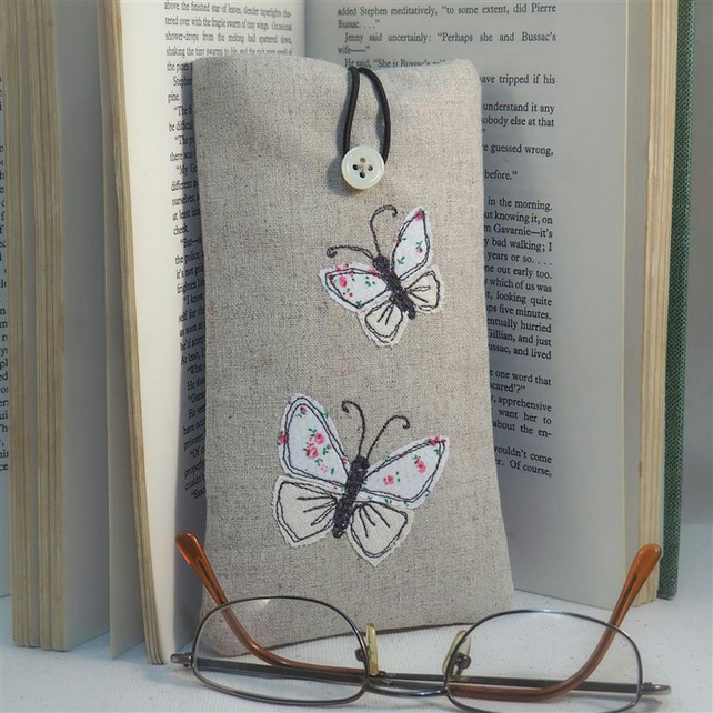 Glasses Case Handmade Butterfly Nature Wildlife Freehand Machine Embroidered