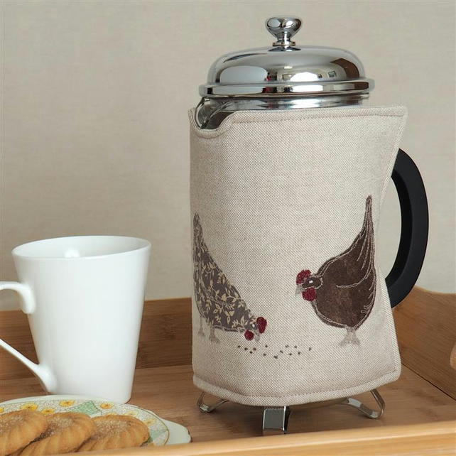 Cafetiere Cosy Hen Chickens Nature Farm Freehand Machine Embroidery