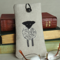 Glasses Spectacles Case Handmade Sheep Design  Freehand Machine Embroidered