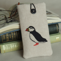 Glasses Spectacles Case Handmade Puffin Design Freehand Machine Embroidered