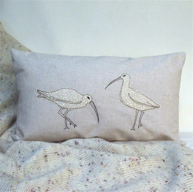 Cushion Curlew Handmade Nature Wildlife Seabird Freemotion Machine Embroidery