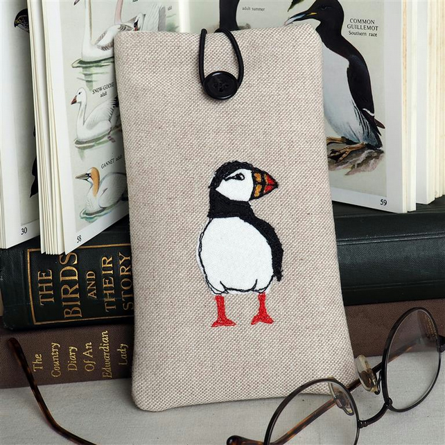 Glasses Spectacles Case Puffin Handmade Freehand Machine Embroidered