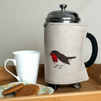 Cafetiere Cosy 8 Cup Robin Bird Nature Wildlife Freehand Machine Embroidery